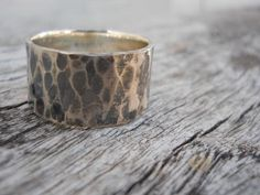 Wide rustic hammered band Unisex by hellothula on Etsy, $62.00