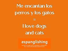 Espanglishing | free and shareable Spanish lessons = lecciones de Inglés gratis y compartibles: Me encantan los perros y los gatos = I love dogs and cats