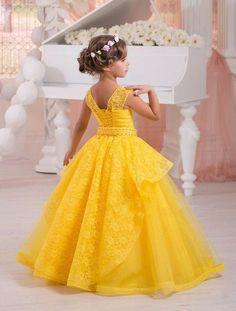 Amarillo brillante Niña de las Flores Vestido Del Desfile de Vestidos De Fiesta para Niñas de Encaje Perlas Comunión Vestidos Para Bodas 2016 FL34