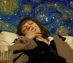 Starry Night Vincent van Gogh re-imagined Vincent Van Gogh, Mia Wallace, Art Hoe, Foto Art, Film Serie, Retro Aesthetic, Quentin Tarantino, Psychedelic Art, Movies Showing