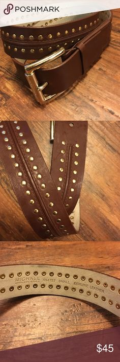 Michael Kors Belt 100% genuine leather. Gold studded with raised leather and stitching detail. Large gold buckle. Worn once. MICHAEL Michael Kors Accessories Belts