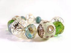 Chunky Beaded Bracelet Turquoise Bead Bracelet by JewelleryByJora