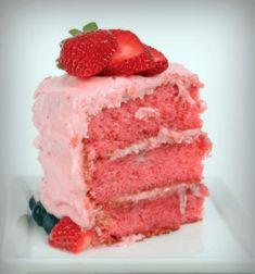 MELT IN YOUR MOUTH STRAWBERRY BUTTERMILK POUND CAKE Fresh Strawberry Cake, Pound Cake With Strawberries, Strawberry Cake Recipes, Food Cakes, Cupcake Cakes, Cupcakes, Bundt Cakes, Banana Bread Brownies, Apple Slab Pie