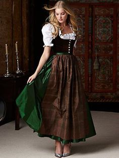 kathi dirndl - dresses & skirts - women - Gorsuch hahaha love it! Traditional Fashion, Traditional Dresses, Drindl Dress, Plaid Dress, German Costume, Organza, Folk Costume, Costumes, Clothes