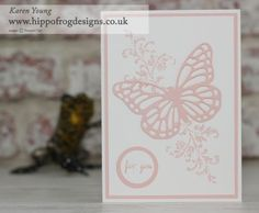 New In Color 2017-2019 Powder Pink. Any occasion card made using Timeless Textures Stamp Set, Watercolor Wings Stamp Set and Butterflies Thinlits from Stampin' Up!