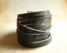 Black Sliced Leather Cuff Bracelet Double Wrap by TesoroDelSol, $22.00
