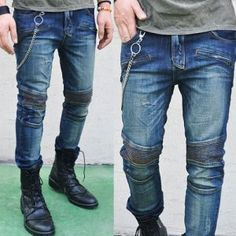Bottoms :: Jeans :: Skinny Deep Blue Vintage Biker-Jeans 67 - Mens Fashion Clothing For An Attractive Guy Look ($70.00) - Svpply
