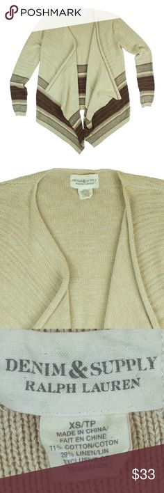 """RALPH LAUREN Beige Linen Stripe Cardigan Sweater Great condition! This beige and brown stripe linen sweater from Ralph Lauren Denim & Supply features an open front style. Made of a linen blend. Measures: bust: 38"""", total length: 29"""", sleeves: 24"""" Ralph Lauren Sweaters Cardigans"""