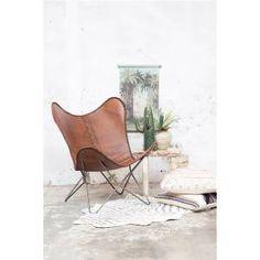 Vlinderstoel Bruin - Chrome Frame