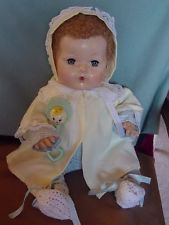 EFFANBEE VINTAGE RUBBER DY-DEE DOLL IN ORIGINAL PAJAMAS WITH DY-DEE BABY RATTLE!