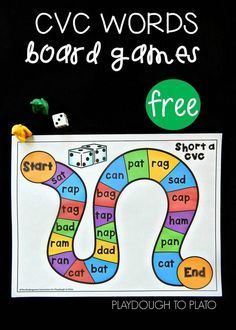 Free CVC board games! Fun word family activities or literacy centers for…