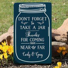 Mason Jar Wedding Sign / Grab a Jar Wedding by TheSignPatch