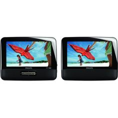 Philips PD7012/37 7-Inch LCD Dual Screen Portable DVD Player - Installs and mounts easily for in-car enjoyment with included car adapter and mounting straps, plus has AC adapter, built-in stereo speakers, and headphone jack for personal enjoyment.
