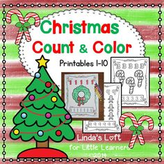 These Christmas Count and Color Printables are a set of 10 counting and coloring pages for numbers 1-10.  Use to reinforce number recognition and counting.  Staple pages to make a take-home counting booklet.