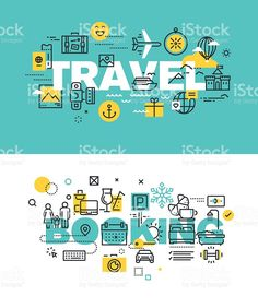 Set of vector illustration concepts of words travel and booking royalty-free stock vector art