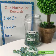 The counting and clinking of the marbles going into the jar were always the most exciting part of this whole class reward system! Class Reward System, Token System, Classroom Reward System, Reward System For Kids, Kids Rewards, Daily Rewards, Classroom Rewards, Classroom Behavior Management, Behaviour Management