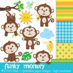 Clip Art and Digital Paper Set- Funky Monkey