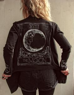 Tarot Moon - Cardigan Jacket black asymmetric Handpainted Size XS 34 I LOVE IT SOOO MUCH GRUNGE EVER XXX WE ARE CHILDREN OF THE MOON