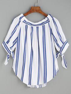 Blusa rayas verticales manga con cordón - azul-Spanish SheIn(Sheinside)