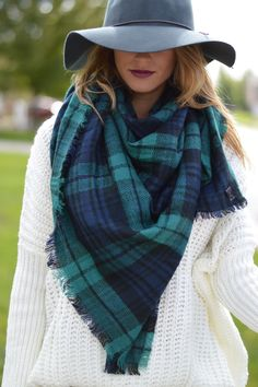 Navy & Green Blanket Scarf | $29 | Foi Clothing | Plaid Oversized Fashion Scarf | Women's Fashion Blanket Scarf | Plaid Fall Accessories | Scarf Weather | Comfy & Cozy |
