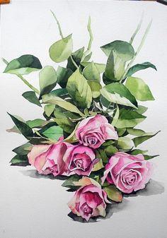 [정물 꽃수채화] 장미 - 수채화과정 (아르쉬.Rough) : 네이버 블로그 Watercolor Rose, Watercolor Artwork, Watercolor Artists, Watercolor Cards, Watercolor Illustration, Art Floral, Floral Drawing, Watercolor Projects, Pastel