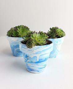 DIY: Marbled Terra Cotta Pots – Alana Jones-Mann