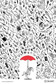 Great ads for Blunt Umbrellas | Dynamite ad | Agency: Y&R, Auckland, New Zealand | Illustrator: MIchael Hsiung | Designer: James Wendelborn | Via: http://adsoftheworld.com/media/print/blunt_umbrellas_dynamite?size=original | Click to visit Blunt and purchase an umbrella #illustration #advertising #spon #graphicdesign