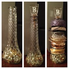 Made a bangle bracelet display out of things laying around in the house. I used an old vase, glass beads and a wine stopper for this one.