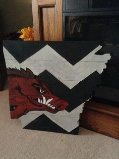 Hand painted Razorback chevron State of Arkansas!  $55 plus shipping