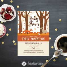 Woodland Animals Baby Shower Invitation Printable Instant DOWNLOAD editable template pdf Forest Baby Shower Invitation Fall colors Neutral