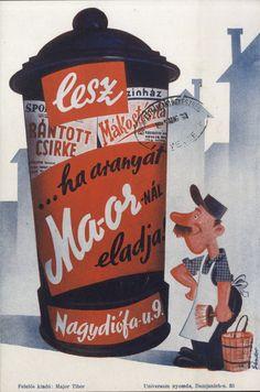 Sándor Károly - Lesz rántott csirke mákostészta, 1945 Vintage Posters, Retro Posters, Old Ads, Illustrations And Posters, Vintage Advertisements, Hungary, Budapest, Projects To Try, Advertising