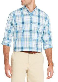 Izod Men's Long Sleeve Flex Plaid Button Down Shirt - Dusty Jade Green - 2Xl