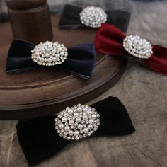 Black Red Vintage Pearl Ladies Men Pre Tied Velvet Bow Brooch Pin #Handmade