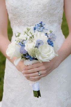 Blue and white wedding bouquet Photos by Smitten Chickens Photography