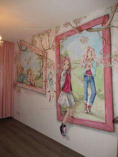 Kids Room Murals, Art Wall Kids, Wall Art, Girl Room, Girls Bedroom, Princess Beds, 3d Wall Painting, Anime Art Fantasy, Floor Murals