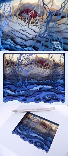3d Paper Art, Paper Artist, Cut Paper, Paper Crafts, Arte Pop Up, Laser Paper, Bleeding Hearts, Papercutting, Inspiring Things