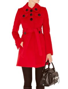 Karen Millen Feminine Wool Red Coat Sale