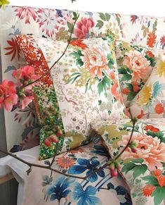 Leaf Design, Floral Design, Luxury Cushions, Small White Flowers, Vintage Kimono, Japanese Kimono, Vintage Japanese, Becca, Textile Design