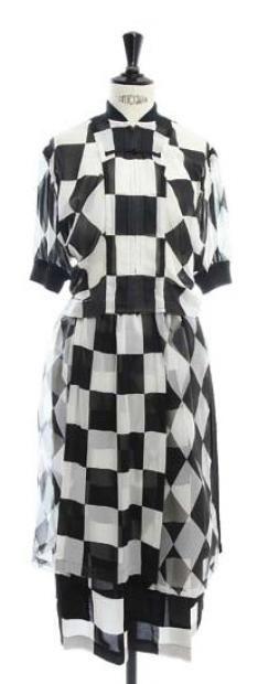COMME DES GARCONS * Ensemble corsage et jupe a carreaux noirs et blancs 1988