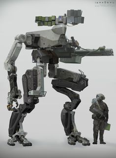 SD-43B. This bipedal unit is equipped with various motion sensors, a singular mono-drome camera, an ambidextrous arm attachment, and a 20mm cannon.