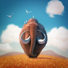 awesome Friendly Mammoth by Goro Fujita Check more at http://weirdhood.com/art/25-art-work-month-feb-2015/