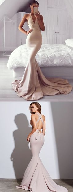 Mermaid Prom Dress,Style V-Neck Prom Gowns,Court Train Backless Party Dresses,Blush Prom Dress,Sash Elastic Satin Evening Dress,Graduation Gowns,Prom Dresses