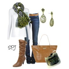 slouched boots, reptile print scarf -  created by s-p-j on Polyvore