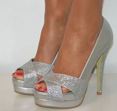 Silver Glitter Heels with peeptoe! Really sparky! Great for a day out!