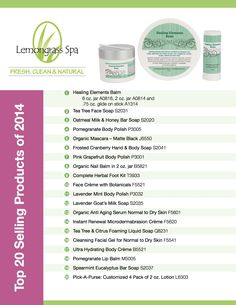 Announcing Lemongrass Spa Products' Top 20 Products of 2014! To order visit - www.ourlemongrassspa.com/3871