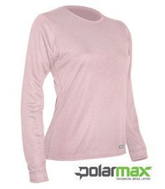 Polarmax Women's Double Base Layer Long Sleeve Crew Tee (Pink, Medium) POLAR MAX. $24.95. For all winter sports or just to stay warm. 100% ACCLIMATE DRY POLYESTER. Wicks/Breathes/Quick Drying; Lightweight rib knit with flat seam construction; Relaxed Fit; NO Shrinking. USA