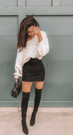 More-Beautiful/ ootd winter, winter club outfits, winter night outfit Go Out Outfit Night, Winter Night Outfit, Girls Night Out Outfits, Outfits For Vegas, Party Outfit Winter, Vegas Outfit Night, Club Outfit For Winter, Skirt Outfits For Winter, Winter Going Out Outfits