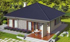 One story house plans - Houz Buzz 3d House Plans, Bungalow House Plans, Bedroom House Plans, Roof Design, Patio Design, Beautiful House Plans, Beautiful Homes, Home Design Diy, Kerala House Design