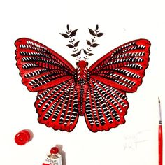 """Day 98 of my challenge #100daybutterflies #100daychallenge is inspired by """"Zemeros Flegyas"""" can be found in South Asia and Southeast Asia  #triplesartists #art_empire #imaginationarts #artoftheday #art_we_inspire #challenge #art  #illustration #butterfly #life #red #nature #phooftheday #brown #love #fun #rtistic_feature #featuregalaxy #creative_instaarts #me #worldbutterflies #happy #watercolor #acrylic #handdrawnart #artist #phanasu #painting"""