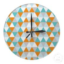 Teal and orange wall clock